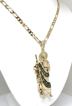 Gold Plated Saint Jude BIG XL Pendant Green CZ Necklace Figaro San Judas Tadeo Medalla