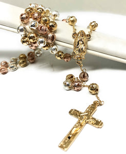 Gold Plated Tri-Color Virgin Mary Rosary Necklace Virgen de Guadalupe Rosario Crucifijo Oro Tres Colores 20""