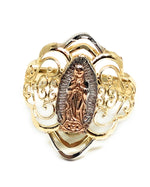 14k Solid Gold Tri-Color Virrgin Mary Filigran Ring