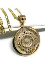 14k Solid Gold Yellow Mexican Aztec Calendar Pendant Necklace with Figaro Chain