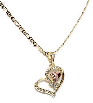 Gold Plated Tri-Color Heart Rose CZ Pendant Necklace Chain 24""