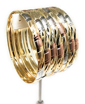 Gold Plated Tri-Color Semanario Bangle Bracelet Pulsera Semanario Tres Colores