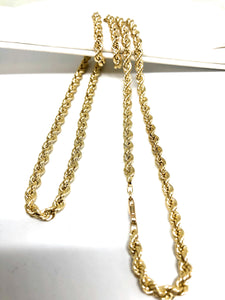 10k Solid Gold Yellow Rope Chain 24 - 26 inch | 2.4 - 4.7mm width (Semi-Hollow Style)