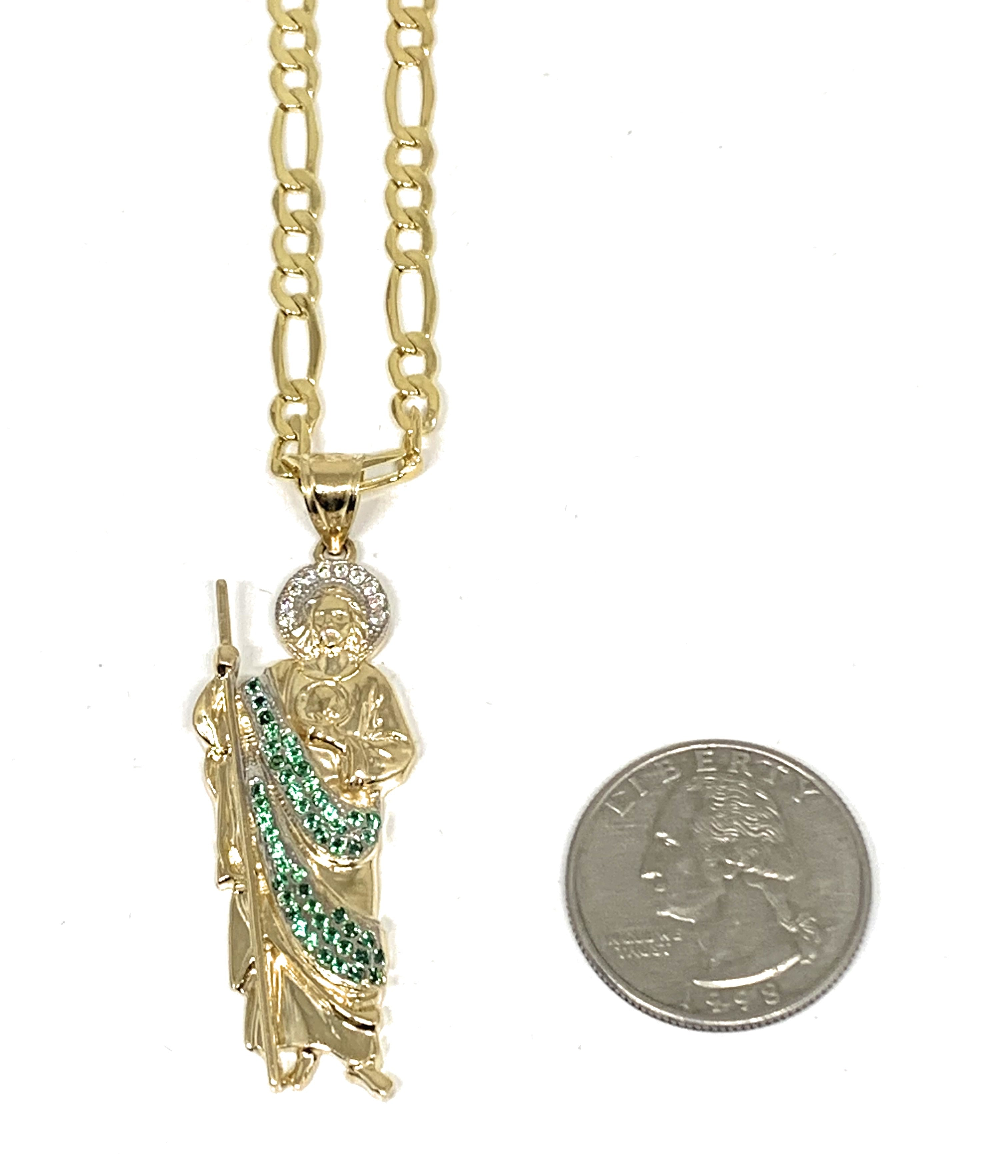 14k Solid Gold Yellow White & Green CZ Saan Judas Saaint Jude Pendant with Chain Optional