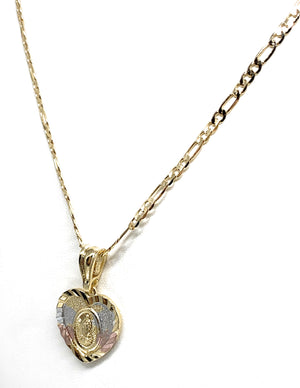 "Gold Plated Virgin Mary Heart Laser Cut Pendant Necklace Figaro 24"" Virgen de Guadalupe Medalla"
