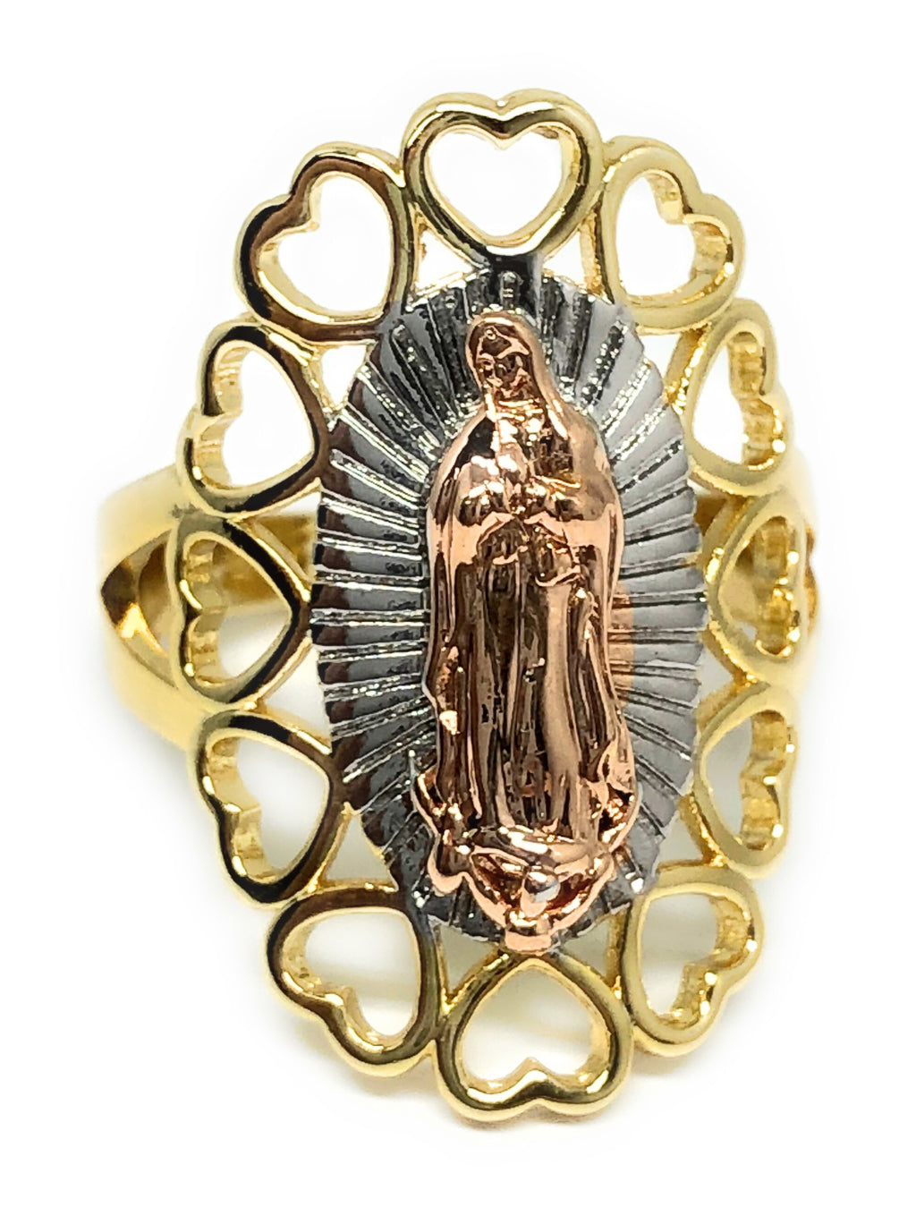 Tri-Color Gold Plated Virgin Mary Heart Ring Virgen De Guadalupe Corazon Anillo Tres Colores - Fran & Co. Jewelry