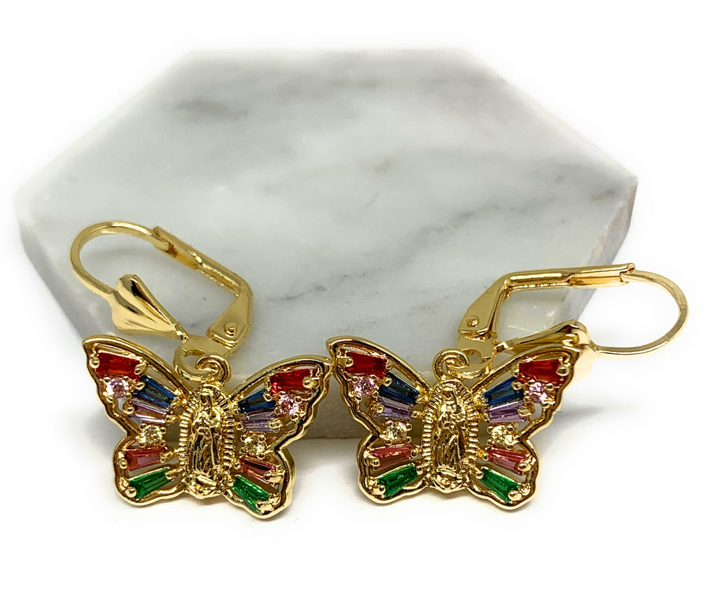 Gold Plated Virgin Mary Butterfly Earrings w/ Stones Aretes Virgen Guadalupe