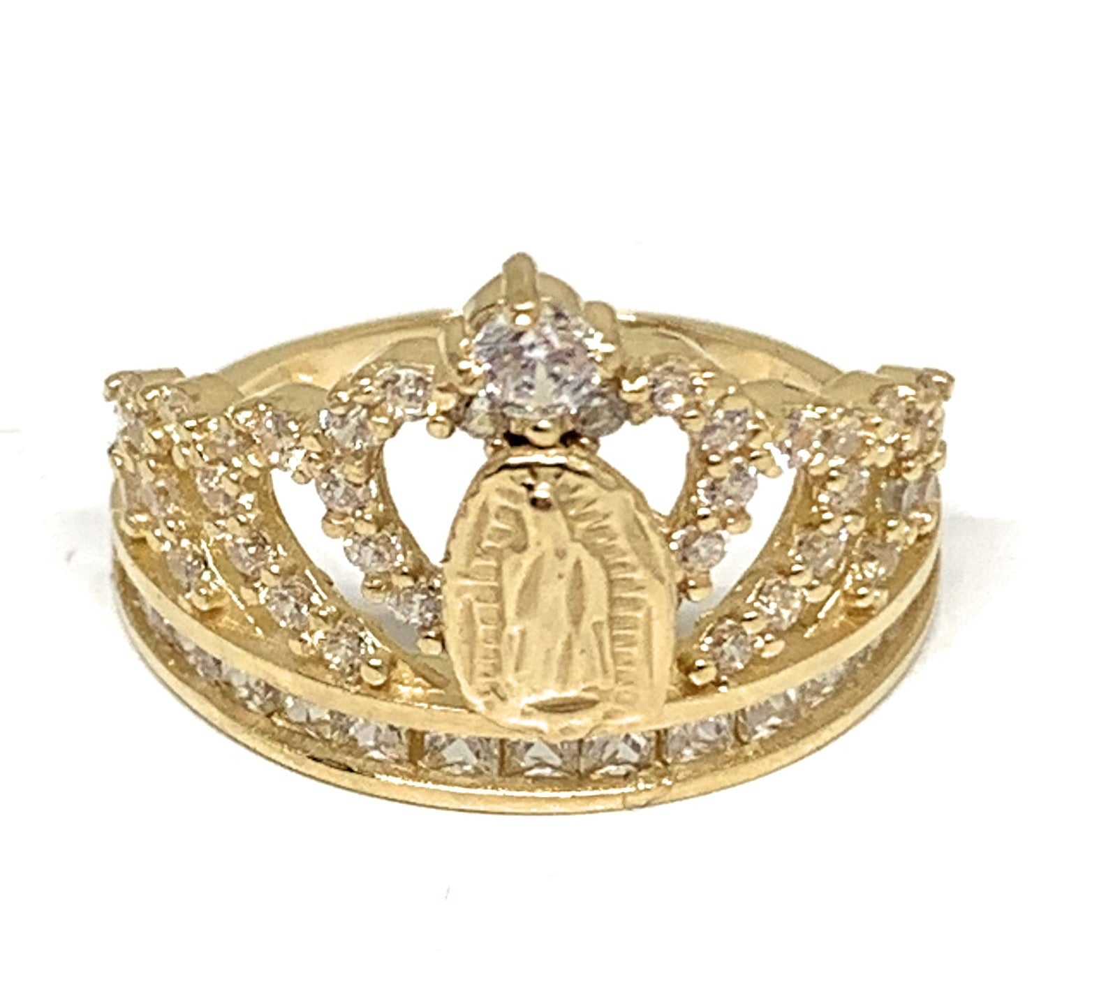 14k Solid Gold Yellow Virrgin Mary CZ Crown Ring