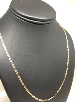 10k Solid Gold Tri-Color Valentina Chain 16 - 24 inch 2mm - 2.3mm (Full Solid Style)