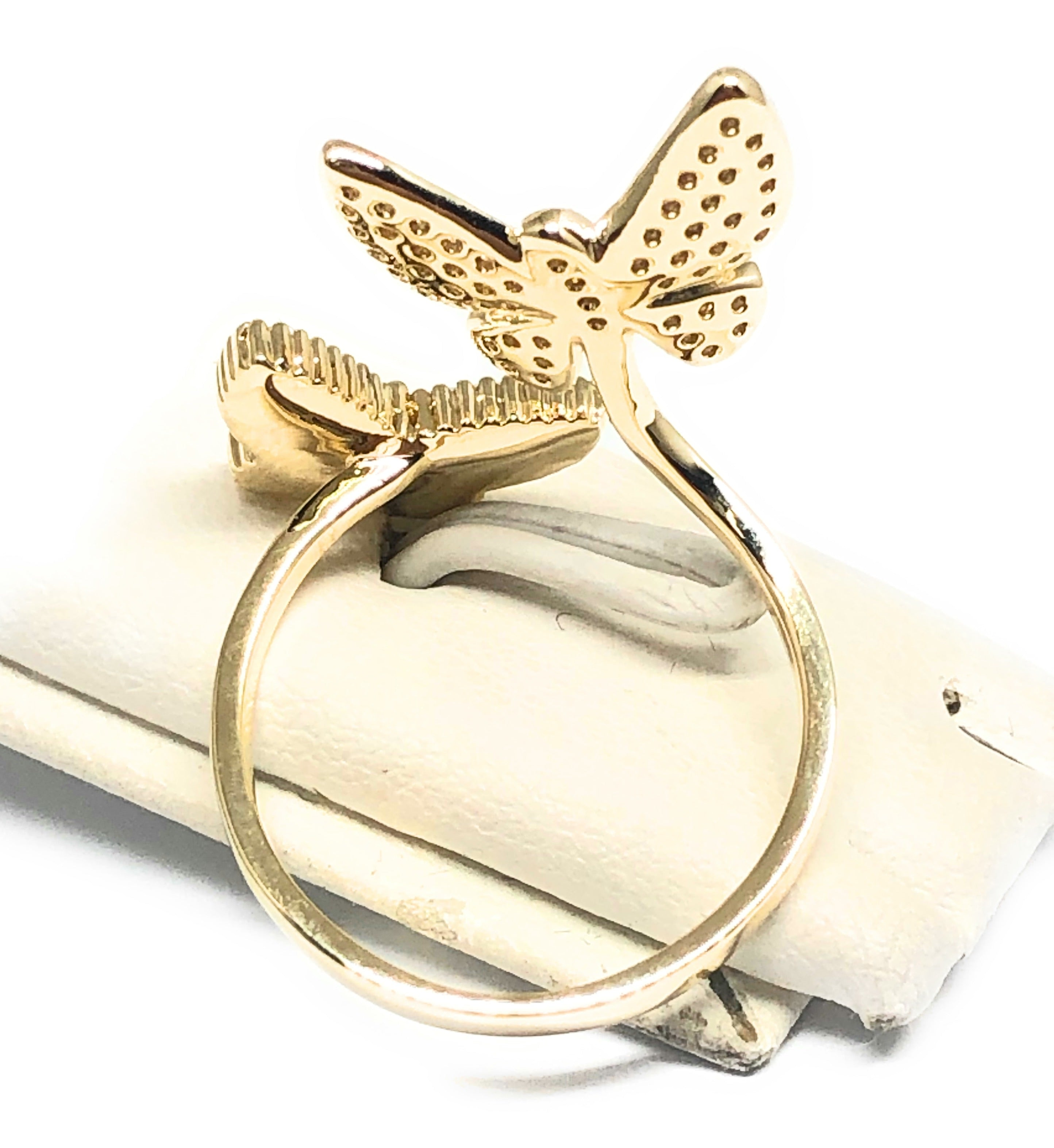 Gold Plated Adjustable Double Butterfly CZ Ring Sizes 6-12 Anillo
