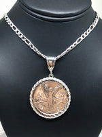 Gold Plated White Mexican Coin Centenario Mexicano Moneda 50 Pesos Pendant Chain 26""
