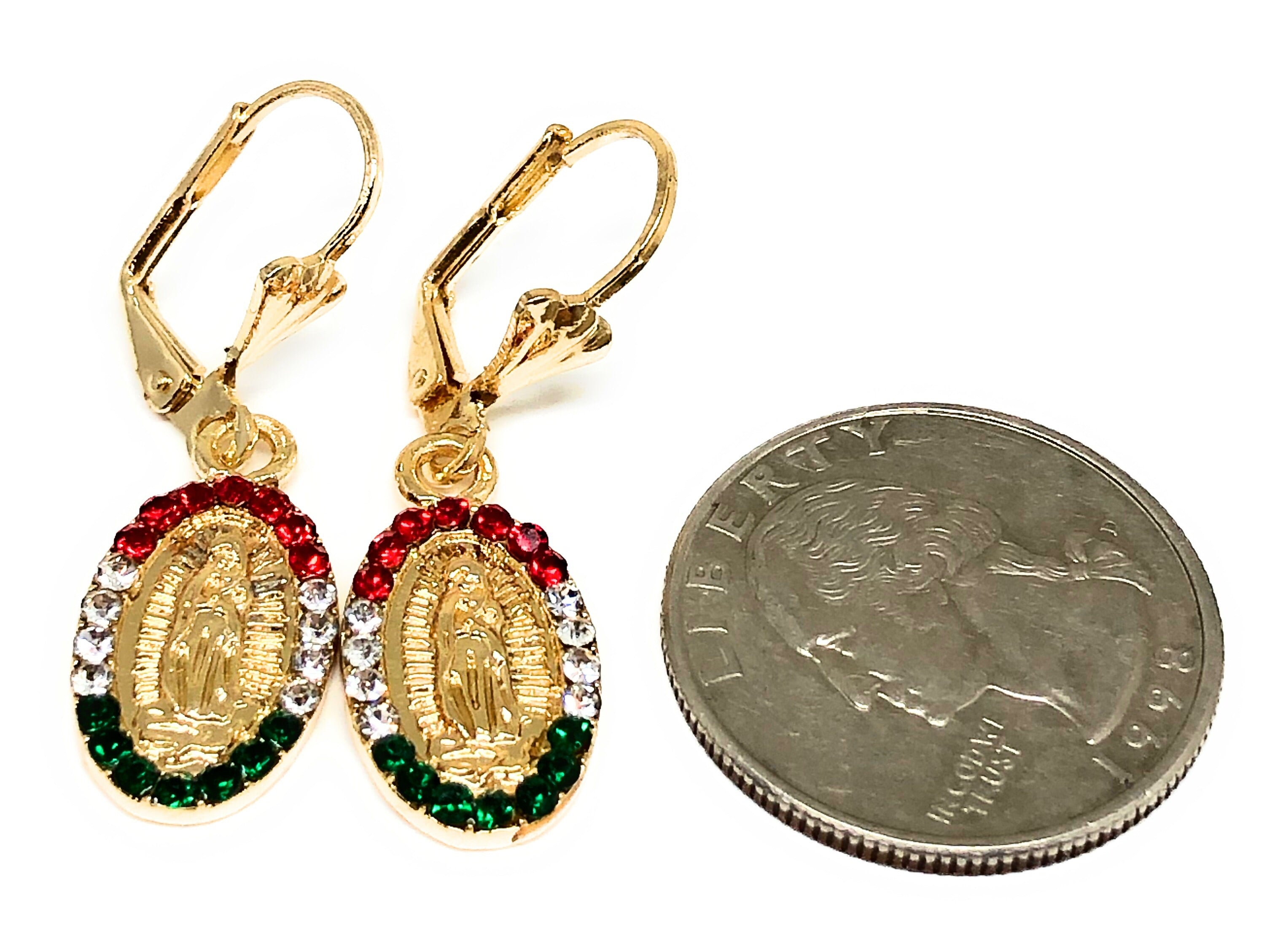 Gold Plated Virgin Mary Earrings w/ Stones Aretes Virgen Guadalupe