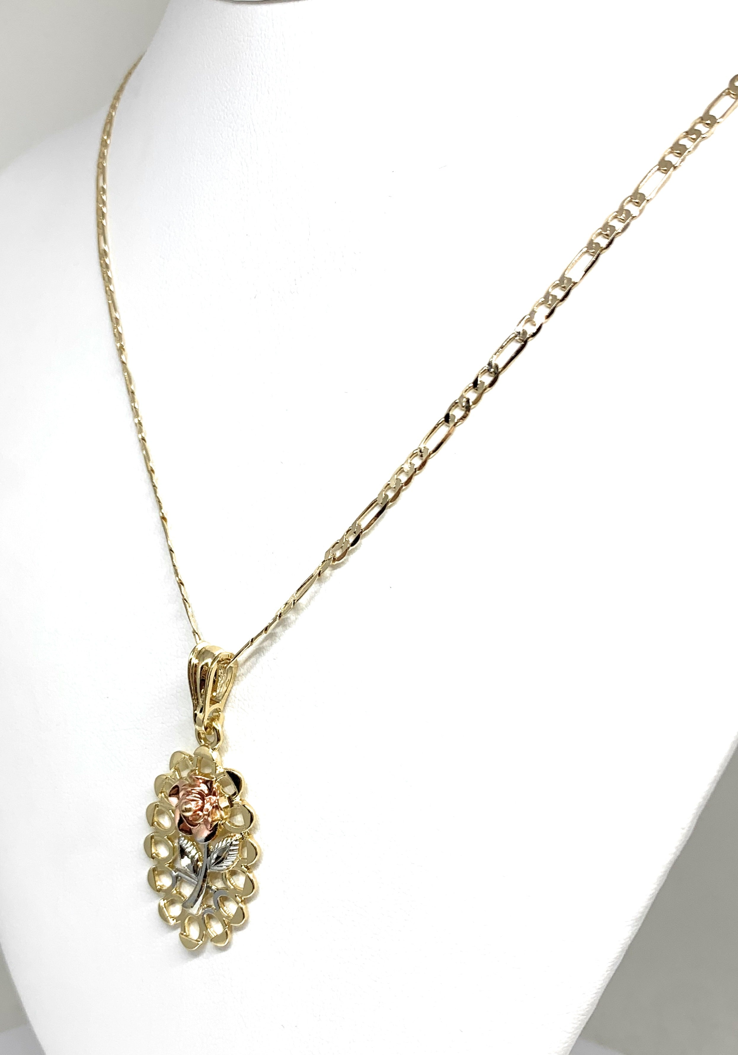 "Gold Plated Tri-Color Oval Rose Pendant Necklace Chain 24"" Flor Pendant"