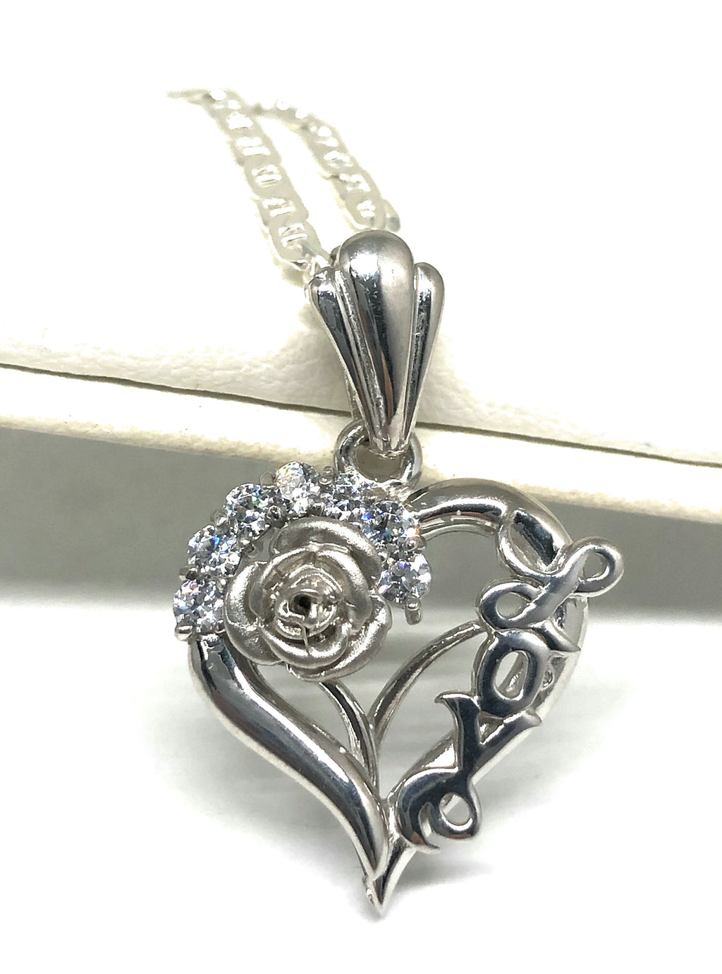 .925 Silver & White Gold Rhodium Heart & Rose Love Pendant CZ Necklace with Chain Options