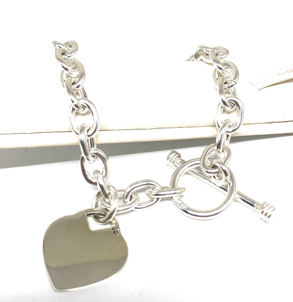 .925 Silver Heart Charm Braccelet 7 inch Engraving Available