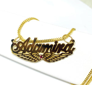 14k Solid Gold Yellow Custom Nameplate Pendant Necklace with Chain Options