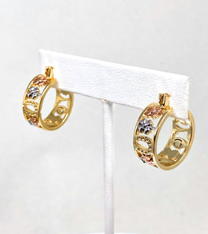 Gold Plated Tri-Color Lucky Symbols Hoop Earrings Aretes Arracada Suerte Tres Colores