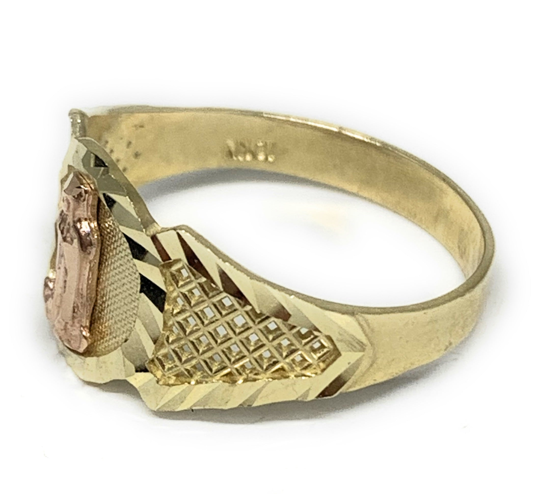 10k Solid Gold Yellow & Rose Gold Virrgin Mary Ring