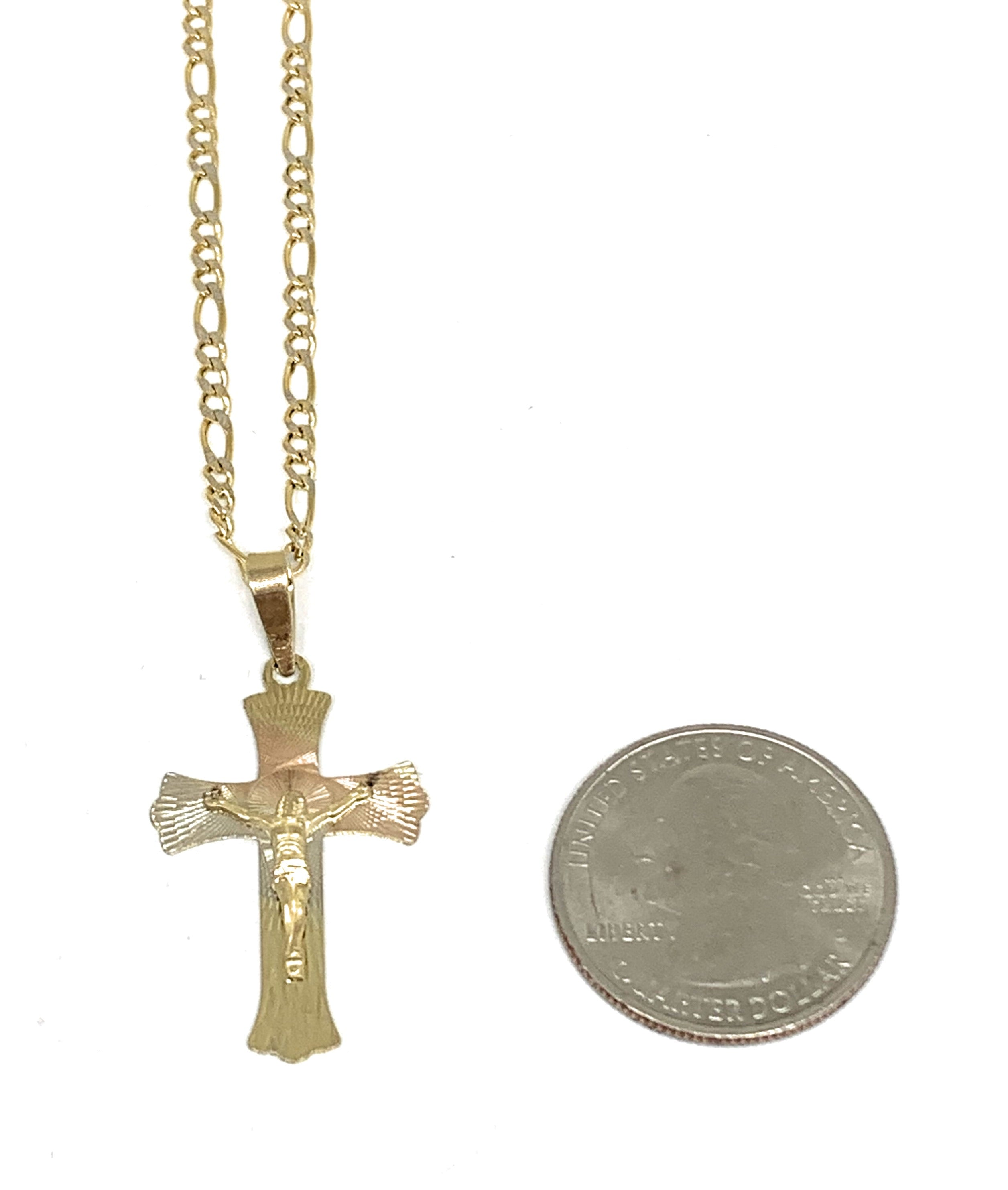 10k Solid Gold Yellow Tri-Color Jesus Cross Crucifix Pendant Necklace