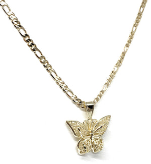 Gold Plated Yellow Butterfly Pendant Necklace Chain 24""