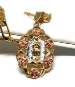 "Gold Plated Tri-Color Virgin Mary Flower Pendant Necklace 26"" Virgen de Guadalupe Medalla Tres Colores Con Flores"