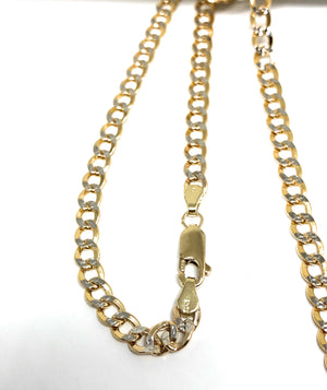 14k Solid Gold Yellow Cuban Link Diamond Cut (White Gold) Chain 24 inches 4.4mm Width