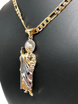 "Gold Plated Saint Jude Pendant Necklace Figaro 26"" San Judas Tadeo Medalla Cadena Oro Laminado - Fran & Co. Jewelry"