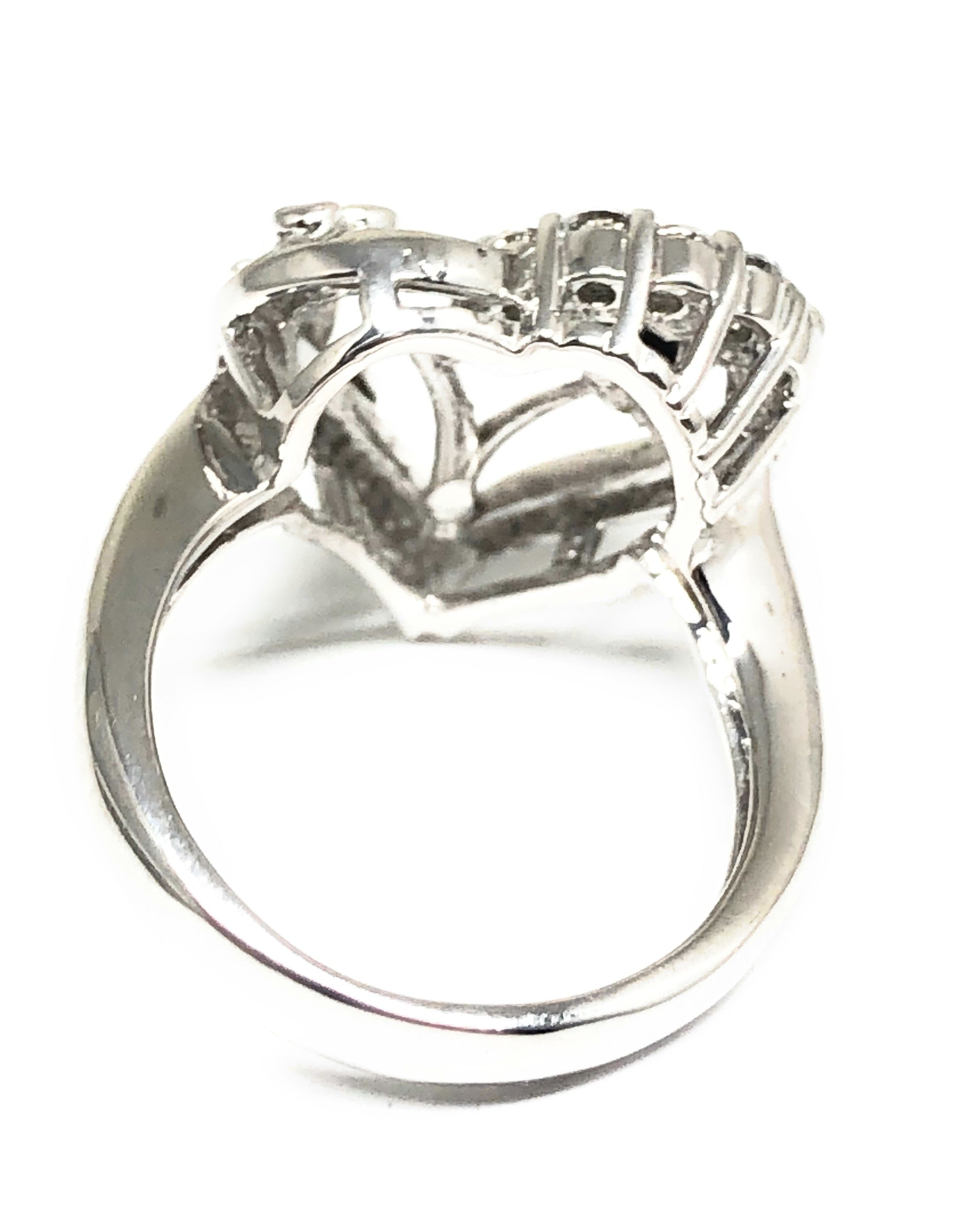 .925 Silver & White Gold Rhodium Rose & Heart Cubic Zirconia Ring