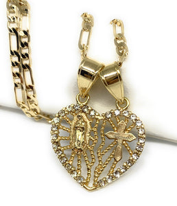 "Gold Plated Yellow Virgin Mary Heart & Cross Heart Split Pendant Necklace 24"" Virgen de Guadalupe"