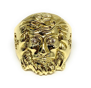 Gold Plated Men's Jesus Face CZ Ring Anillo