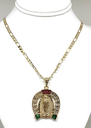 "Gold Plated Virgin Mary Colorful CZ Horseshoe Pendant Necklace Figaro 24"" Virgen de Guadalupe Medalla Oro Laminado"