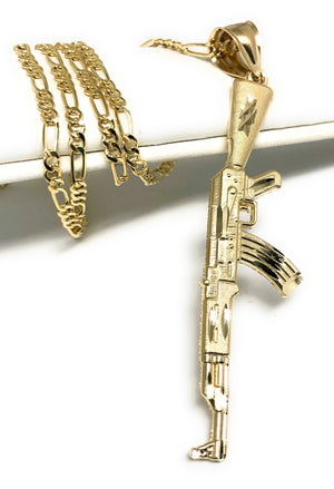 10k Solid Gold Yellow Classic Machine Gun AK-47 Detailed Pendant Necklace