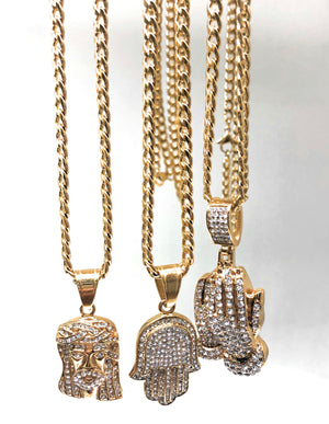 "Iced Out Gold Plated Micro Hamsa Hand CZ Pendant Necklace 30"" Cuban Link Chain"