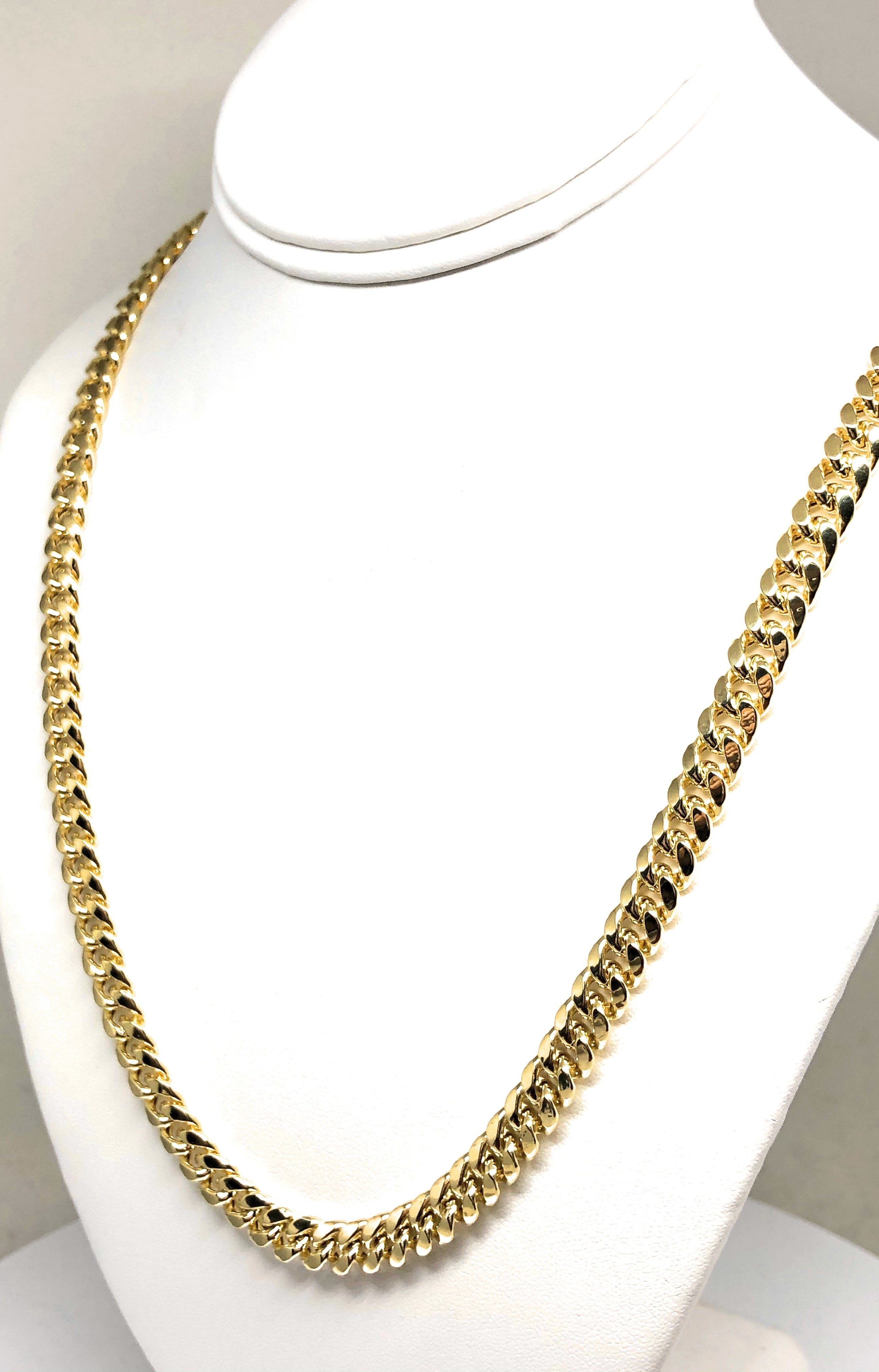 10k Solid Gold Miami Cuban Link Chain 28-30 inches 8mm Box Lock (Semi-Hollow) 41-44g