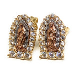 14k Solid Gold Tri-Color Virrgin Mary Earrings CZ