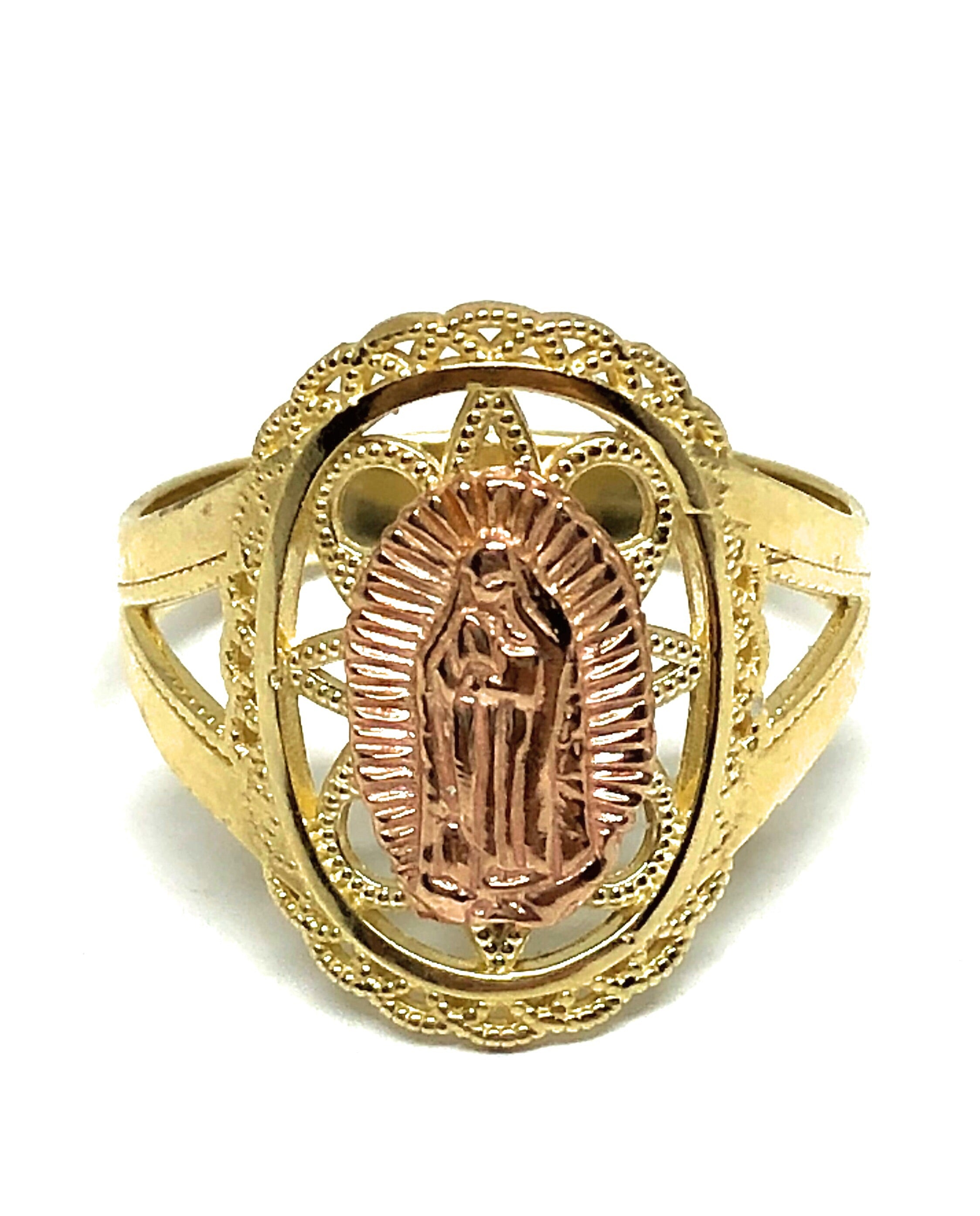 10k Solid Gold Yellow & Rose Virrgin Mary Ring Virrgen Guadalupe
