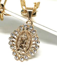 "Gold Plated Virgin Mary White Stone Pendant with 26"" Chain / Virgen de Guadalupe Medalla Piedras Blancas Cadena 26"" Oro Laminado - Fran & Co. Jewelry"