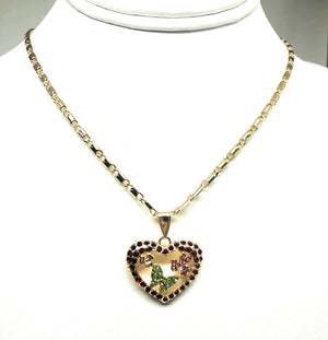 "Gold Plated Heart Butterfly and Flower Necklace Rhinestones Necklace Pendant 24"" Chain"