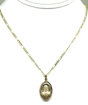 14k Solid Gold Yellow Gold Jesus Sagrado Corazon & Virrgin Mary Double Sided Pendant Necklace Figaro Chain