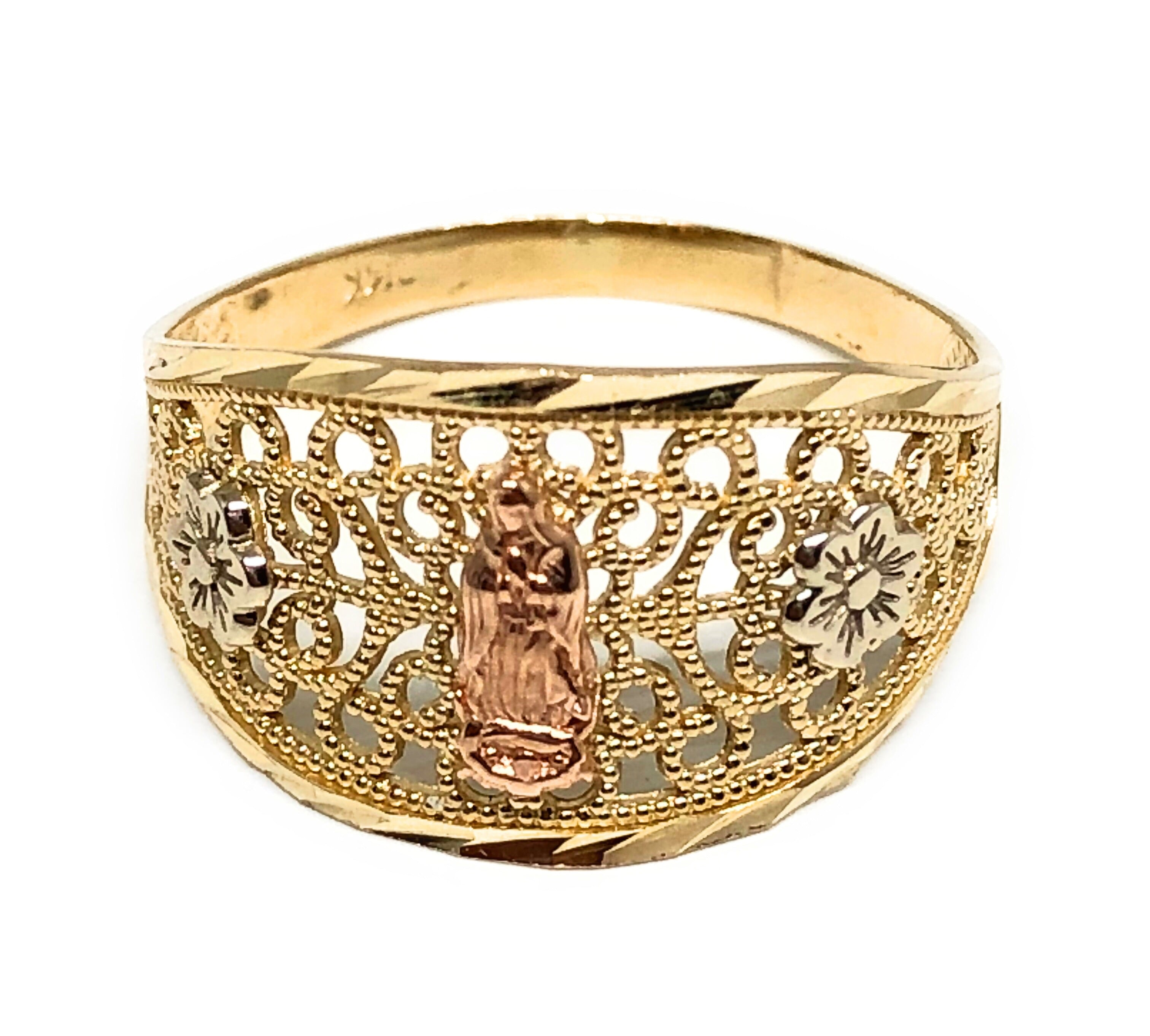 14k Solid Gold Tri-Color Virrgin Mary Filigran Flower Ring