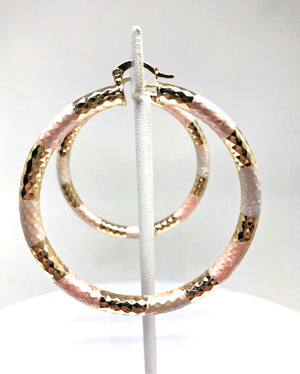 Gold Plated Tri-Color Tube Hoop Earrings Aretes Tubo Arracada Tres Colores