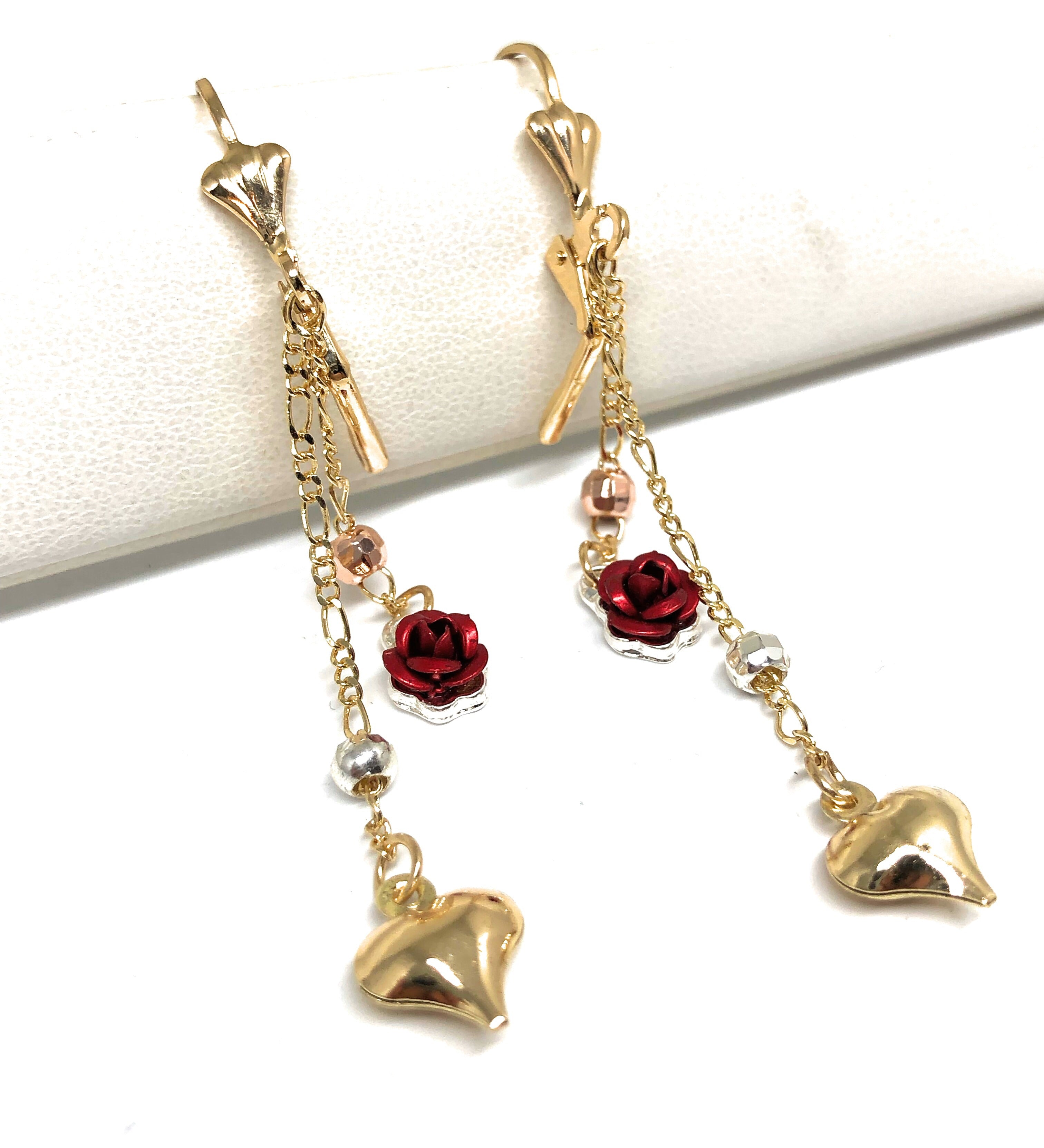Gold Plated Tri-Color Rose Heart Dangle Earrings Aretes Tres Colores
