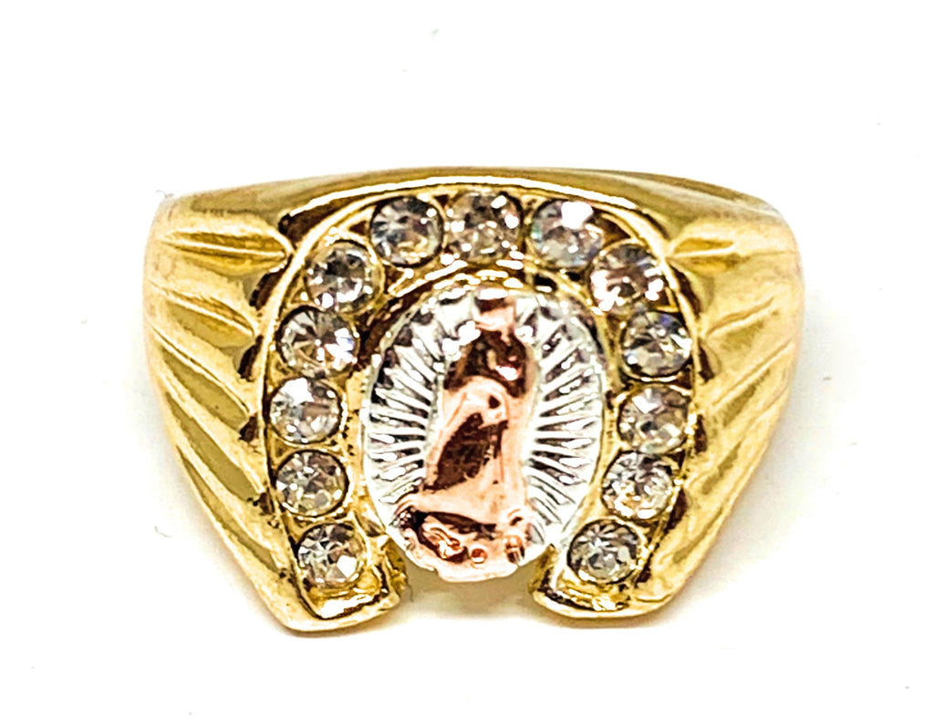Gold Plated Tri-Color Virgin Mary Horseshoe CZ Ring Virgen De Guadalupe Anillo
