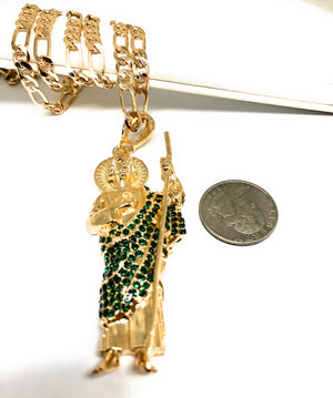 "Gold Plated Saint Jude Pendant Necklace With Stones Figaro 26"" San Judas Tadeo Medalla"