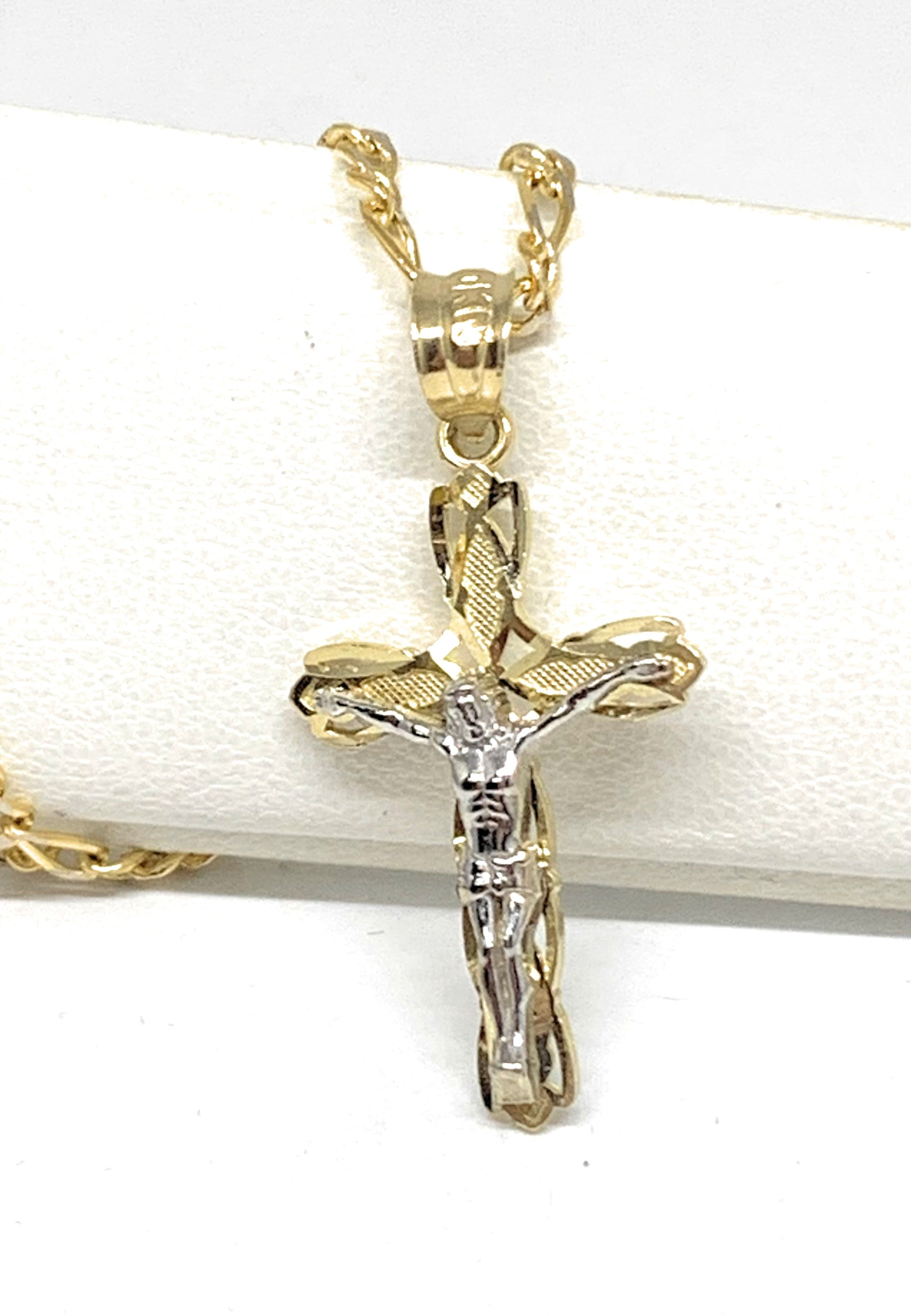 10k Solid Gold Yellow Classic 2-Tone Jesus Cross Crucifix Pendant Necklace