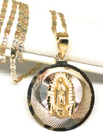 14k Solid Gold Tri-Color Virrgin Mary Round Pendant Virrgen Guadalupe Valentina Chain