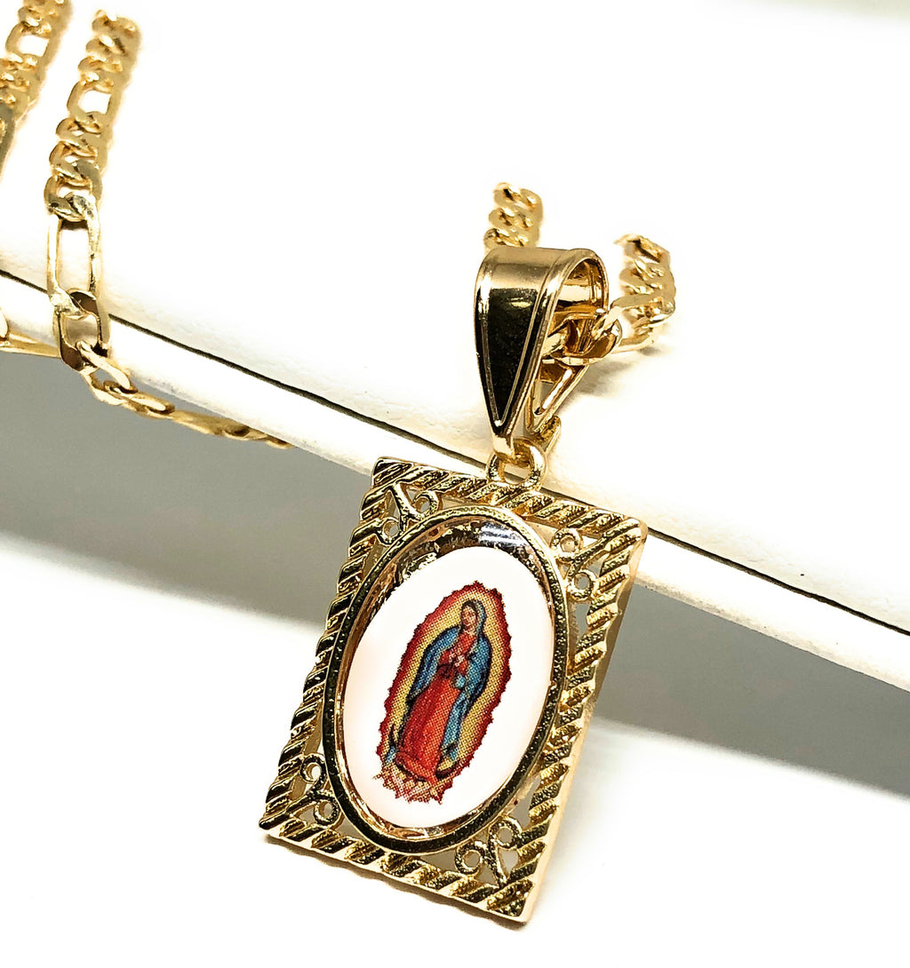 "Gold Plated Kids Virgin Mary Pendant Necklace Figaro 18"" Virgen de Guadalupe Medalla Oro Laminado Para Ninos"