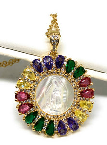 "Gold Plated Virgin Mary Colorful Shell Style Pendant Necklace 20"" Virgen de Guadalupe"