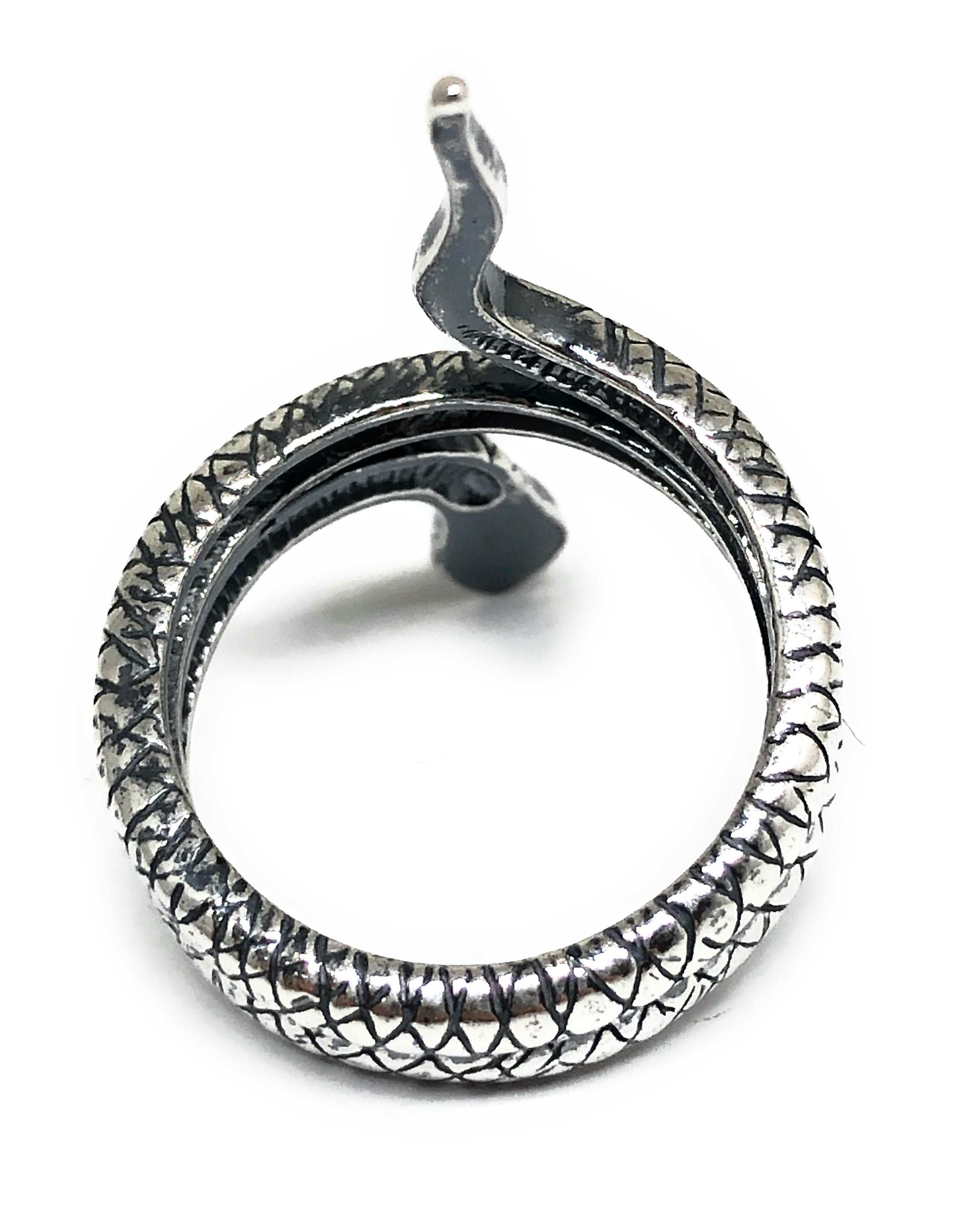 .925 Silver Snake Coiled Textured Ring