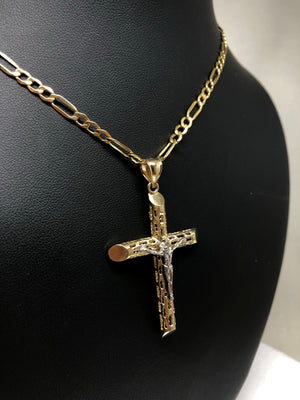14k Solid Gold 2-Tone Jesus Hollow Cross Pendant Necklace Crucifix With Figaro Chan